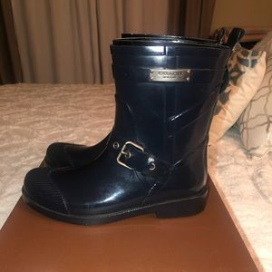 COACH navy blue rain boots